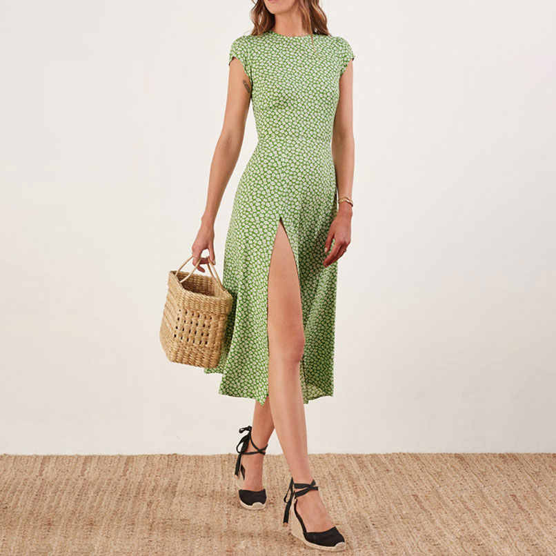 4d61edec41516 2019 Summer Holiday Floral Midi Dress Women Short-Sleeved Backless Sexy  Dresses Robe Femme