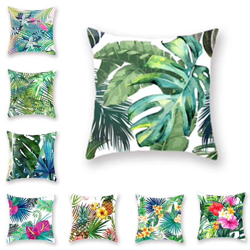 Tropical Palm Leaf Coniferous Decorative Double-Sided Polyester Cushion Cover Pineapple Yellow Green Car Throwing Pillowcase