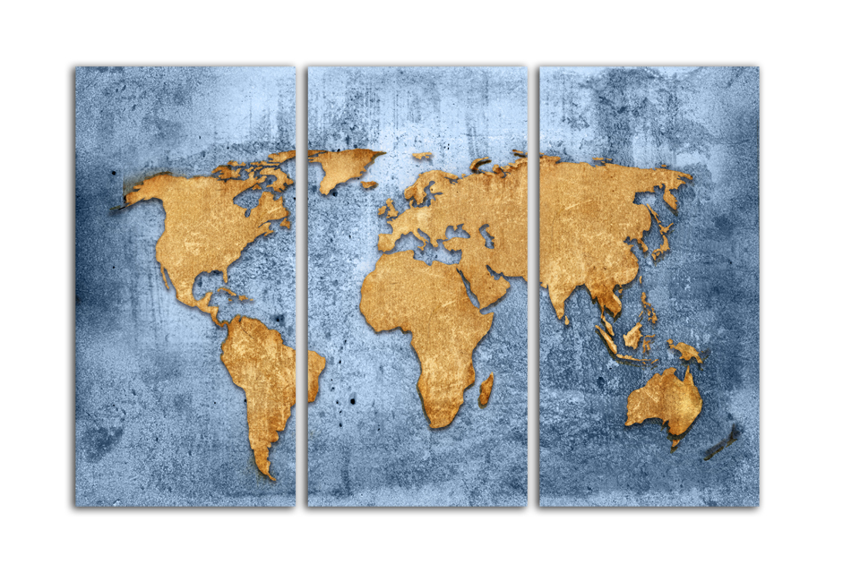Simple world map canvas painting drawing module for living room office furniture decoration art wall gift free shopping FA54