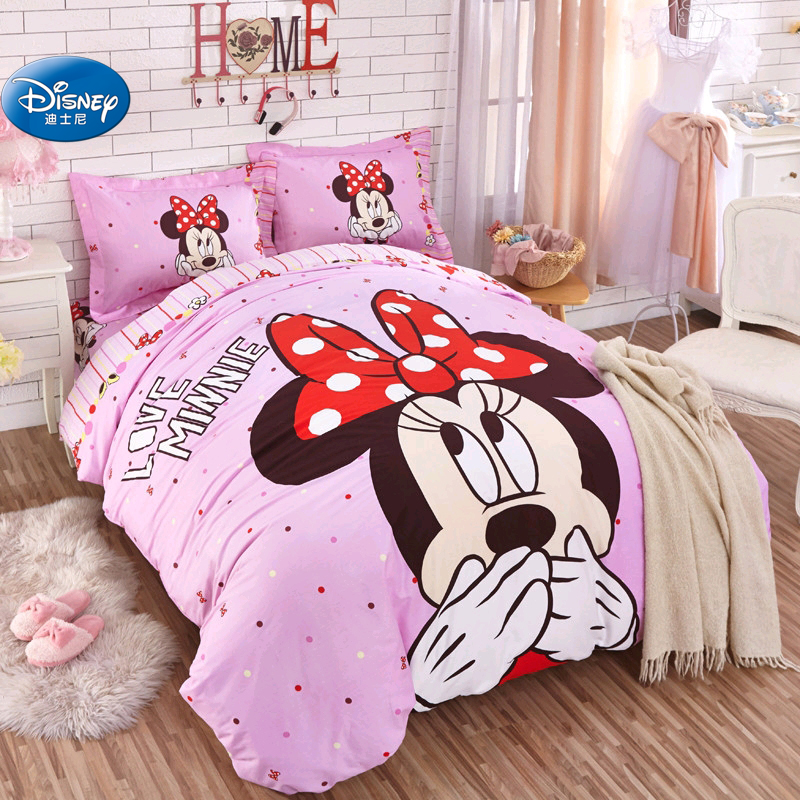 US $52.49 30% OFF Lovely Pink Minnie Bedding Sets Girl\'s Bedroom Decor 100%  Cotton Duvet Cover Set 3/4pcs TwinSingle Birthday Gift for Preschool-in ...