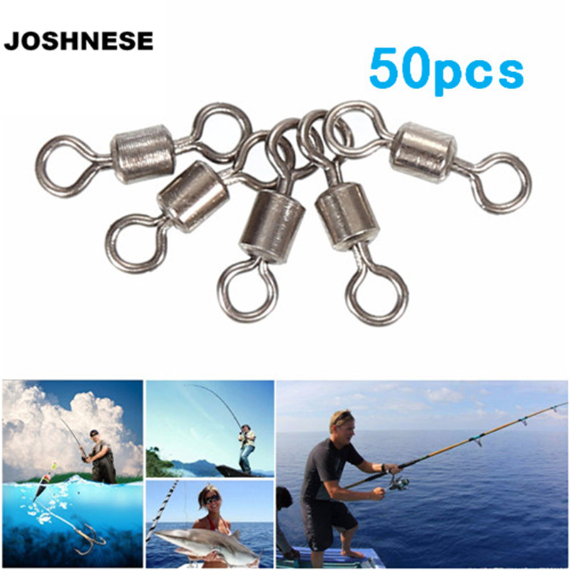 JOSHNESE 50pcs Fishing Hook Connector Accessories Fishing Swivels Ball Bearing Rolling Swivel Solid Rings
