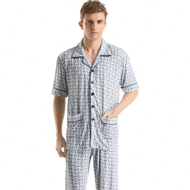 Classic Plaid Pajama Sets Short-Sleeved Men's Sleepwear Plus Size Cotton Pyjamas Sleep&Lounge Men/ Mens Sexy Loungewear