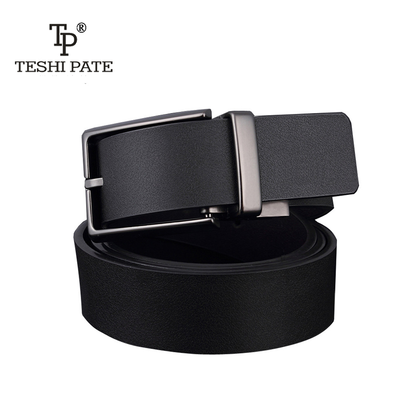 Wholesale TESHI PATE Male Genuine Leather Matting Rotating Pin Buckle Belt Men Leisure Brand Two-sided Cowhide