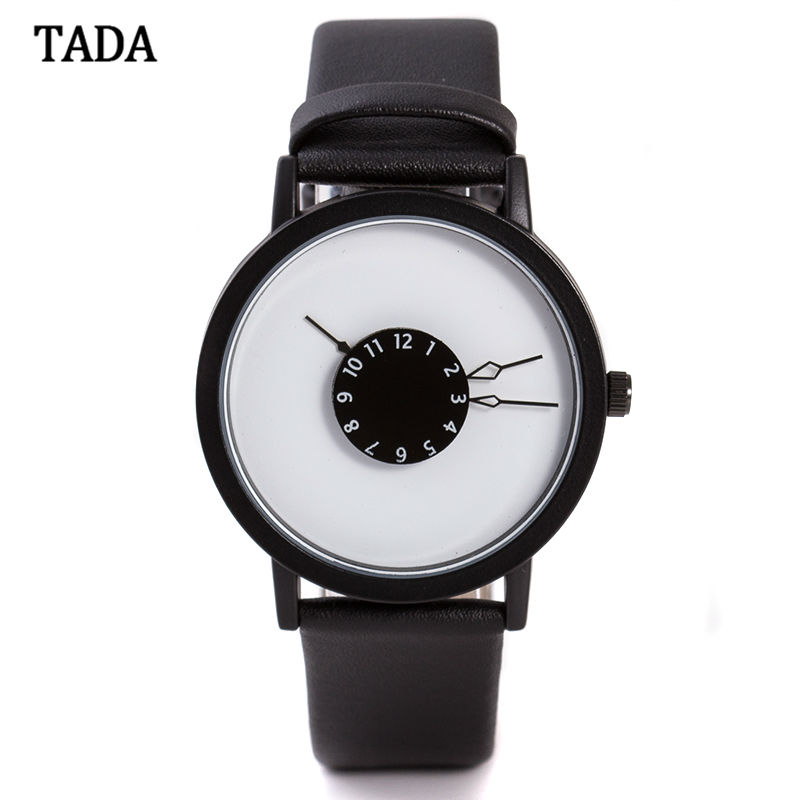 3ATM Waterproof tada brand special turntable dial hour clock women wristwatch genuine leather strap fashion quartz watches lady
