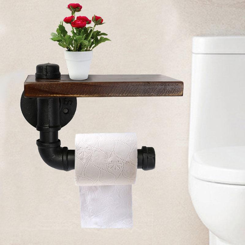 Bathroom Shelves Industrial Retro Iron Toilet Paper Holder Bathroom Hotel Roll Paper Tissue Hanging Rack Wooden Shelf Holder