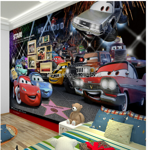 Free Shipping Custom Children Room Wallpaper TV Setting Wall Of Bedroom Non-woven Wallpaper Cars