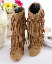 2016  Fashion Boots Tassel Sweet Style Women Boot Knee High Snow Boots Warm Winter Shoes Botas Femenina Shoes Men Wholesale