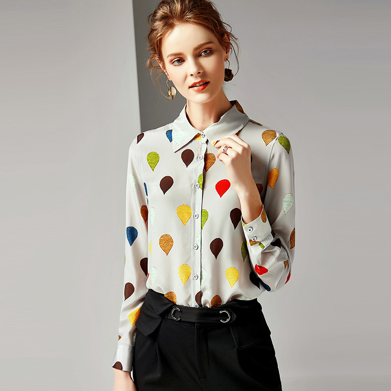 100% Silk Turn Down Collar Single Breasted Print Long Sleeve Blouse 2019 New Women Spring Summer Office Lady Work Straight Shirt