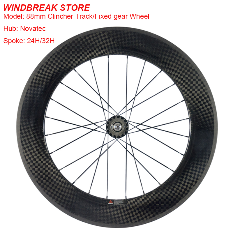 700C High end 88mm Clincher Track Fixed Gear Single Speed Carbon Track Wheels Road Bicycles Carbon