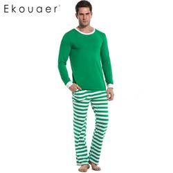 Ekouaer/свободные пижамные комплекты с длинными рукавами, полосатая мягкая мужская одежда для сна, комплекты одежды для сна со штанами