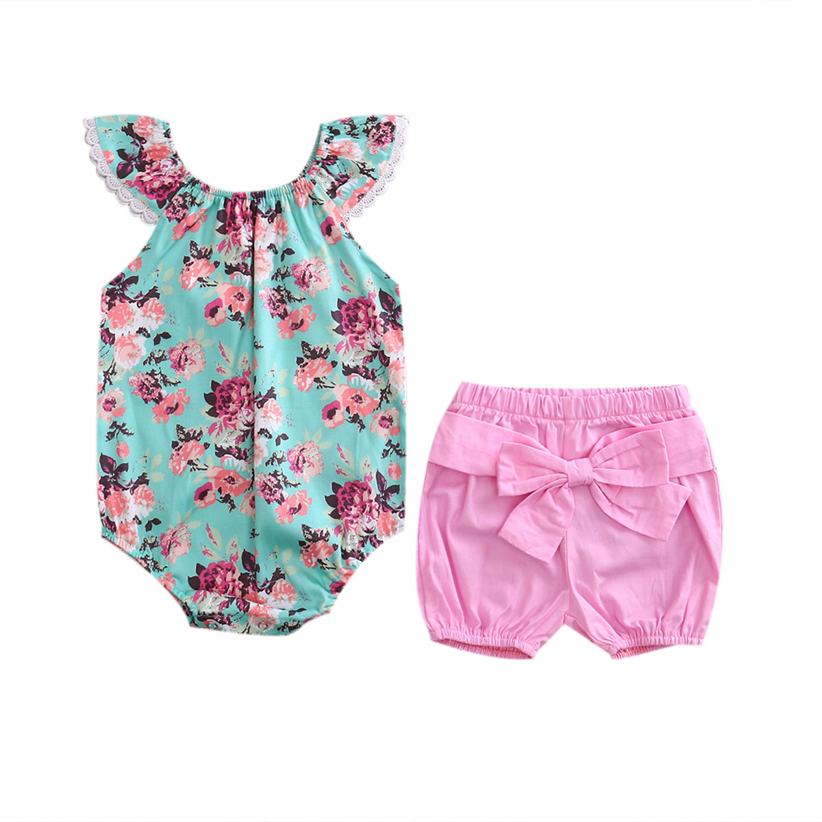 2017 Summer Cute Newborn Toddle Kids Baby Girls Clothes Set Lace Ruffled Floral Baby Romper Bodysuit+Bow Shorts 2PCS Outfits
