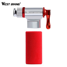 WEST BIKING Mini Bicycle Pump Bike Air Pump Head and Thread CO2 Gas Tank Rubber Cover MTB Bike Inflator Without CO2 Cartridge цена