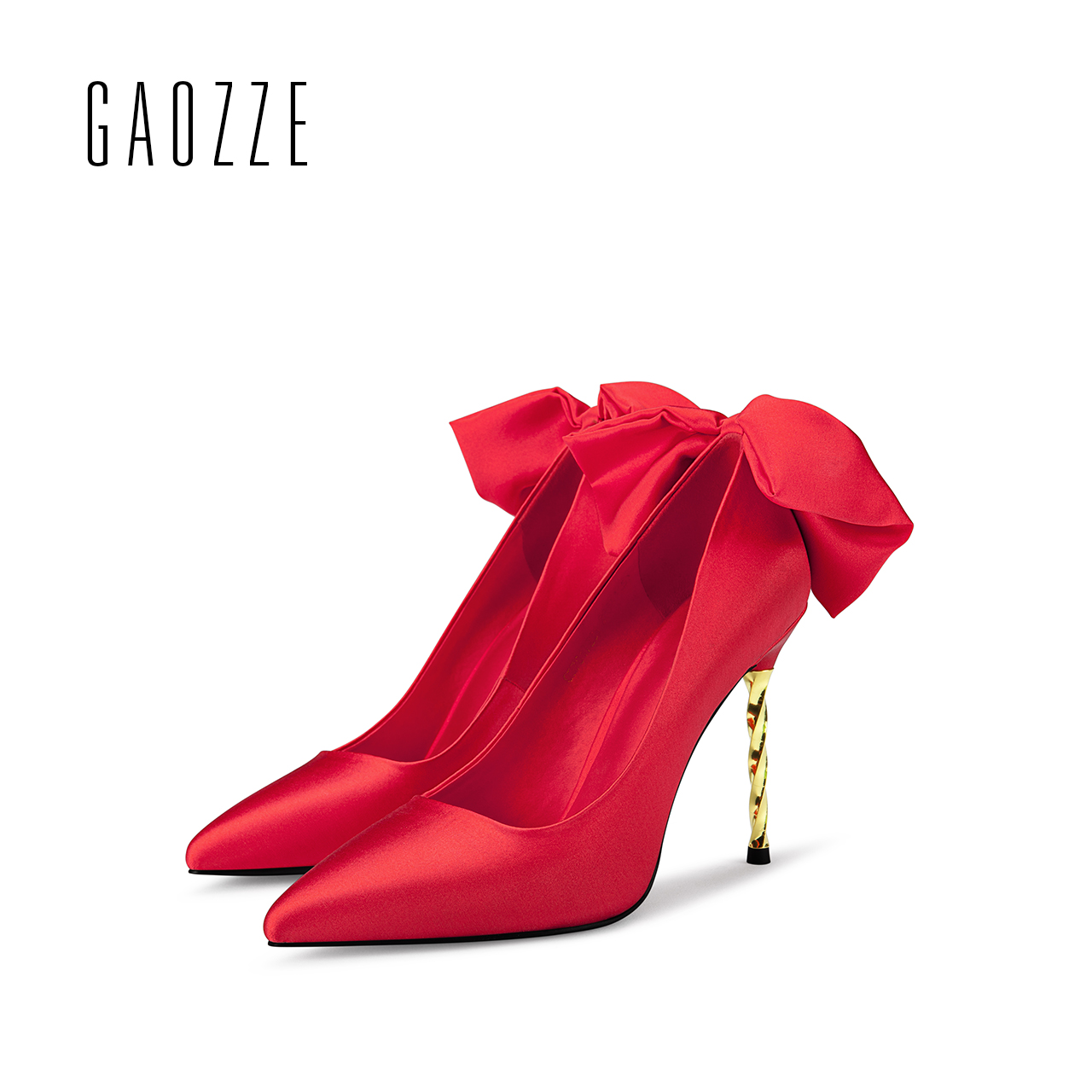 GAOZZE Women Pumps Pointed Toe High Heels Fashion Women Shoes 2017 autumn new female silk cloth red butterfly knot wedding shoes