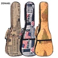 ZONAEL Hot Sale 21 23 26 Inch 10mm Thick Leather Canvas Waterproof Soprano Concert Tenor Ukulele