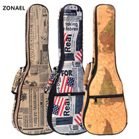 ZONAEL Hot Sale 21 23 26 Inch 10mm Thick Leather Canvas Waterproof Soprano Concert Tenor Ukulele