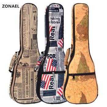 ZONAEL, gran oferta, 21, 23, 26 pulgadas, 10mm de grosor, correa de cuero a prueba de agua Soprano concierto, bolsa para ukelele, funda, mochila, partes de guitarra