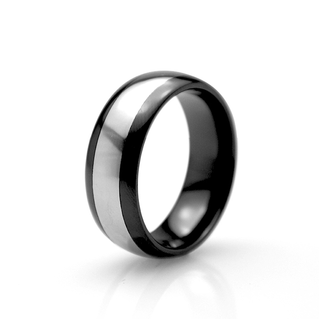 Promotion Class Ring  Summer Style 8mm Ceramic Ring With Steel Women Men's Birthday Anniversary Gift  Jewelry Big Size 9