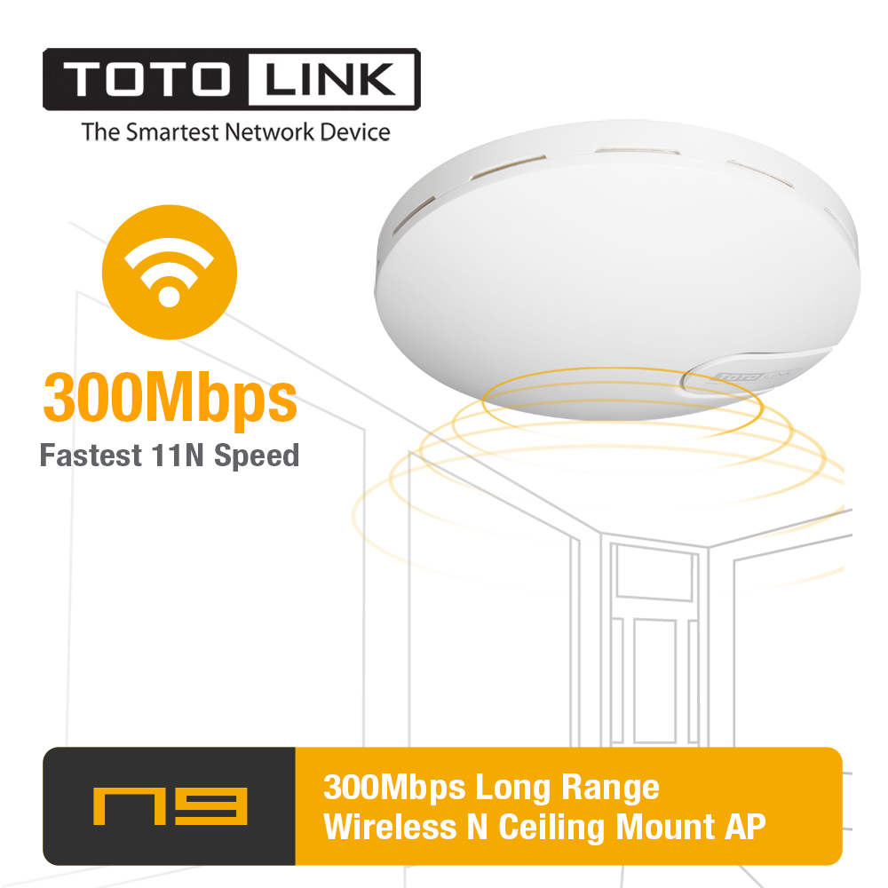 TOTOLINK N9 300Mbps Wireless N High Power Long Range Ceiling Mount ...