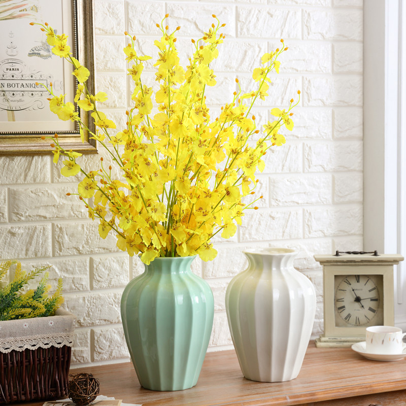 Nordic style Vintage ceramic vase decoration Creative  dried flowers ornaments flower for home