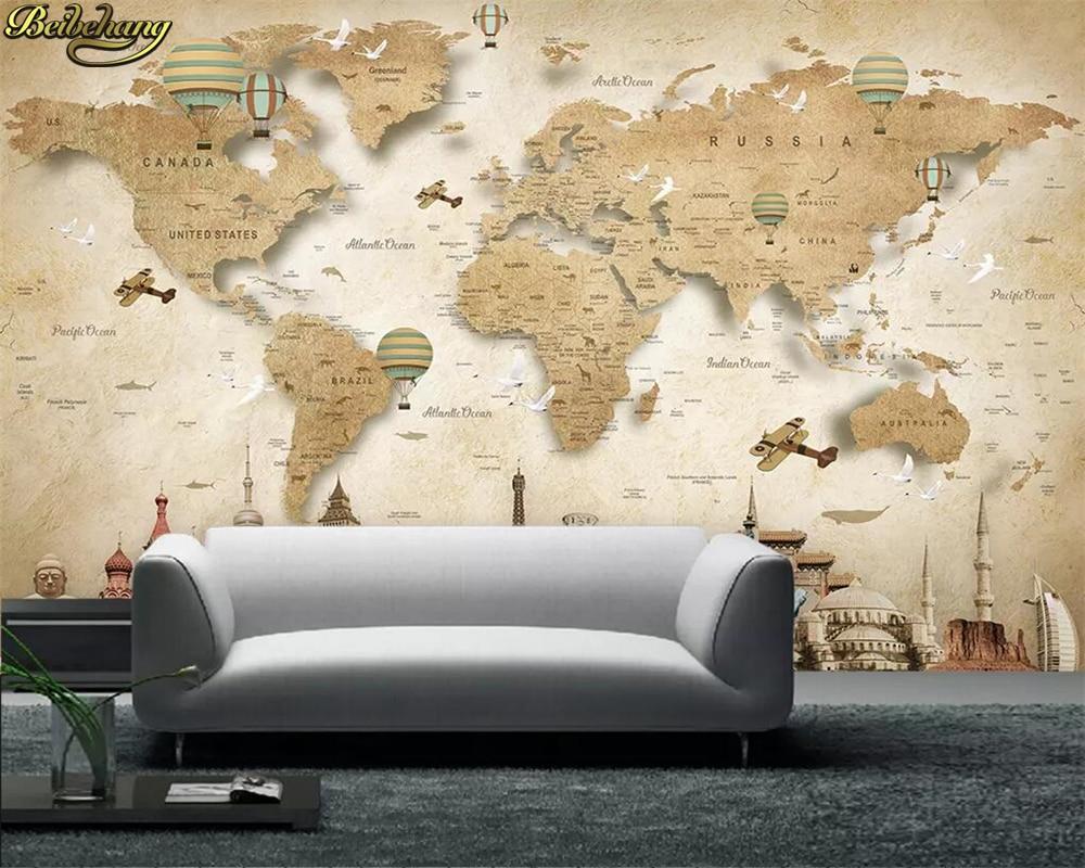 Beibehang Custom Photo 3D Wallpaper Mural Cartoon World Map Background Wall Papers Home Decor Papel De Parede Infantil