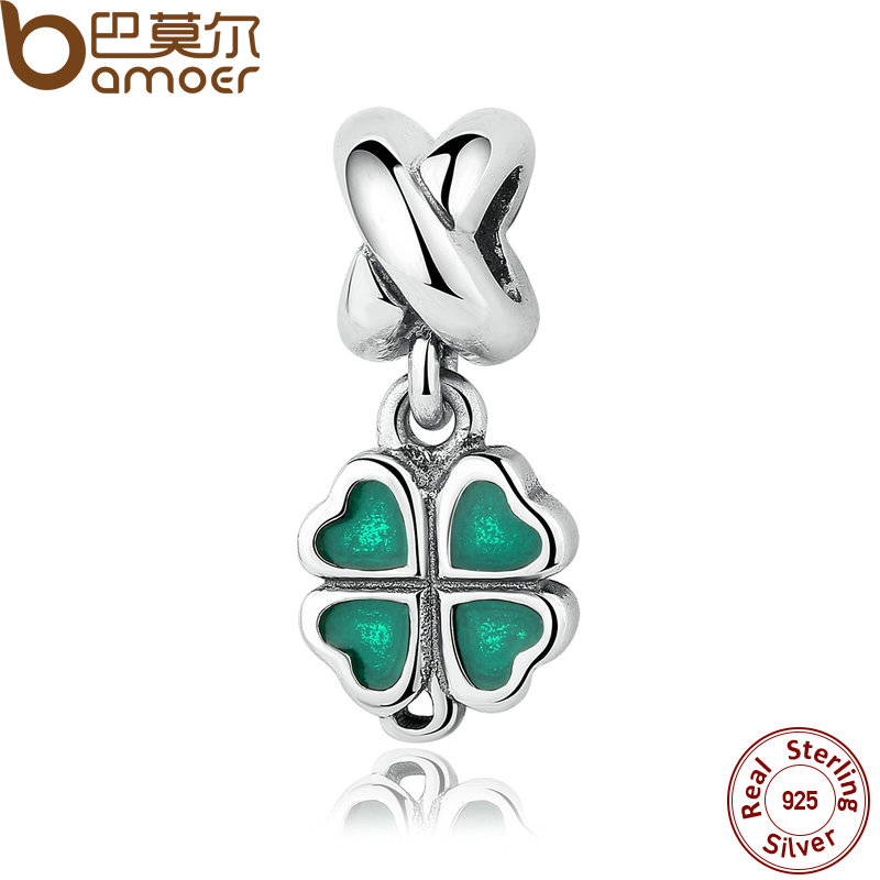 BAMOER REAL 925 Sterling Silver GREEN FOUR-LEAF CLOVER DANGLE CHARM Fit Bracelet Necklace Women Fine Jewelry PAS304 equte women s vintage double birds four leaf clover style weave bracelet white blue