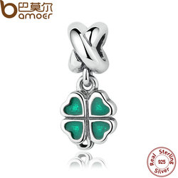 BAMOER REAL 925 Sterling Silver GREEN FOUR-LEAF CLOVER DANGLE CHARM Fit Bracelet Necklace Women Fine Jewelry PAS304