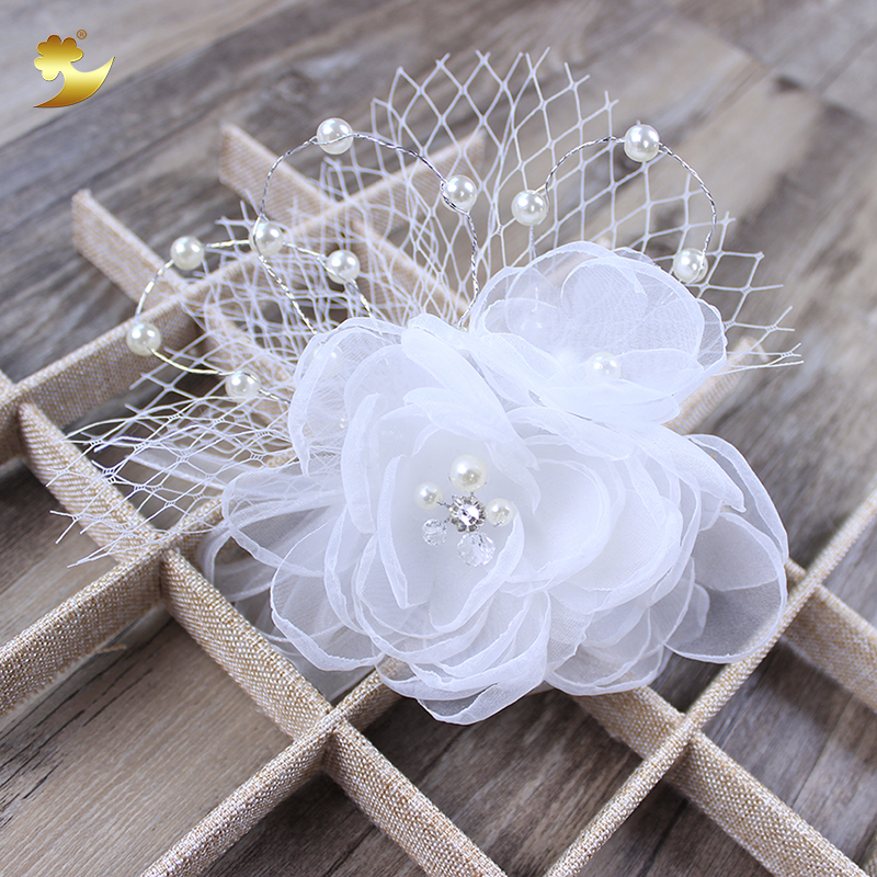 White Flower Hair Comb Headbands Jewelry Crystal Headdress Headpiece Elegant Women Handmade Pearl Hairband Hair Ornaments