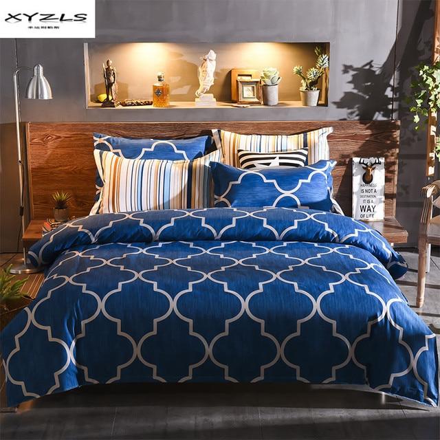 Xyzls Blue Geometric Duvet Cover Sets Queen King Size Modern Bedding Pillowcases Bed Linen Soft