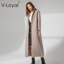 Autumn and winter new products, long cut Alpaca coat, European and American high-end custom woolen coat cut and sew panel pocket decoration coat