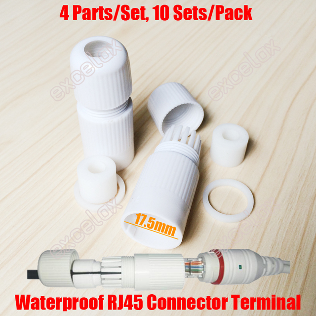 10PCS/Lot 17.5mm RJ45 Modular Waterproof Connector Cap Terminal Cover Protector for Outdoor Network IP Camera Pigtail Cable