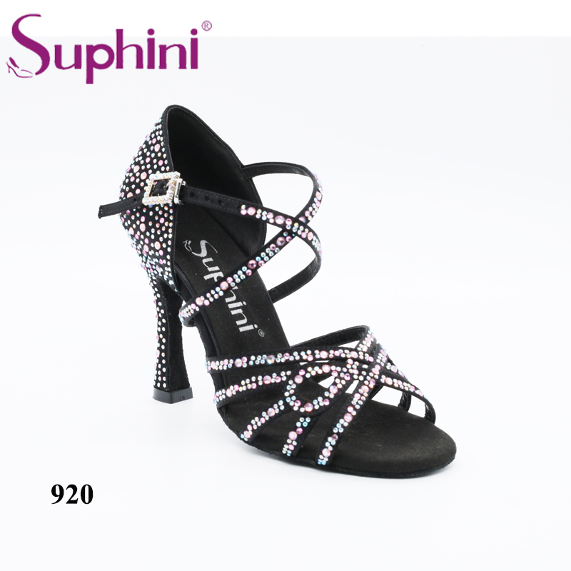Free Shipping Suphini Pink Latin Dance Shoes Lady's Sexy Crystal Ballroom Latin Dance Shoes soft neoprene golf club iron putter head cover set black 11 piece