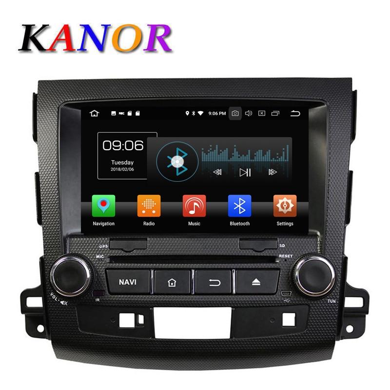 KANOR IPS RAM 4g Octa base Android 8.0 Voiture Lecteur DVD pour Mitsubishi Outlander 06-12 Headunit GPS Navigation 2 Din Voiture Stéréo