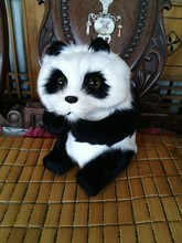 simulation model 23X14CM sitting pose panda toy polyethylene & furs model home decoration gift t435