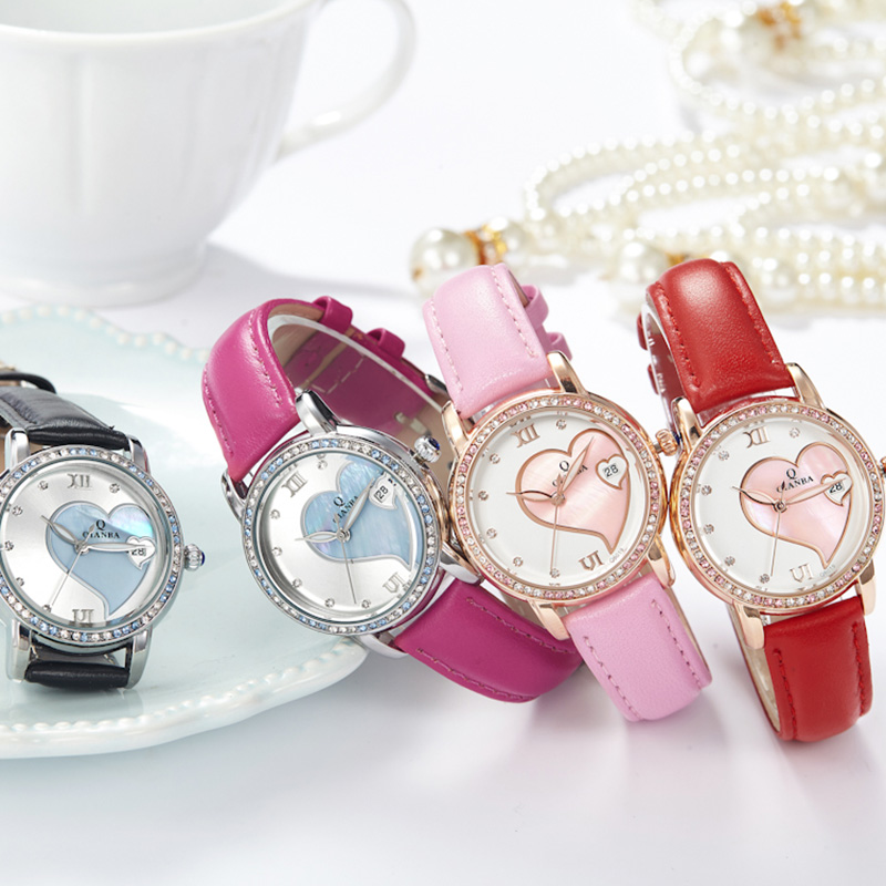High Quality Women Lady Top Brand Luxury Romantic Genuine Leather Strap Shell Dial Rhinestone Quartz Dress Fashion Casual watch high quality fashion dial genuine leather strap top sale quartz watch women and men dress wristwatch personality