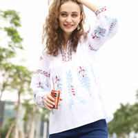 2018 The New Blouses Fashion Casual Women S Early Spring Blouses Nine Quarter Lantern Sleeve V
