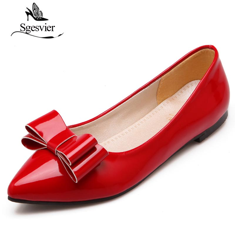 SGESVIER 2018 Women Flats Sweet Bowtie Shoes for Woman Pointed Toe Comfortable Insole New Spring Flats Plus Size 30-49 OX178 vintage tassel oxfords woman bowtie flats pointed toe buckle strap high quality spring shoes xwd3697