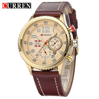 2015 New Designer CURREN Genuine Leather Strap Gold Business Watch Quartz Luxury Sport Watches Men Brand