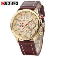 2015 New Designer CURREN Genuine Leather Strap Gold Business Watch Quartz Luxury Sport Watches Men Brand