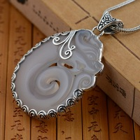 Deer king S925 sterling silver pendant jewelry wholesale silver chalcedony antique crafts personality dragon totem