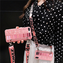 Eye shadow box shoulder strap tpu case fo riphone 7 8 6 6s plus XS MAX XR X cover fashion 3d patterned soft phone bag capa