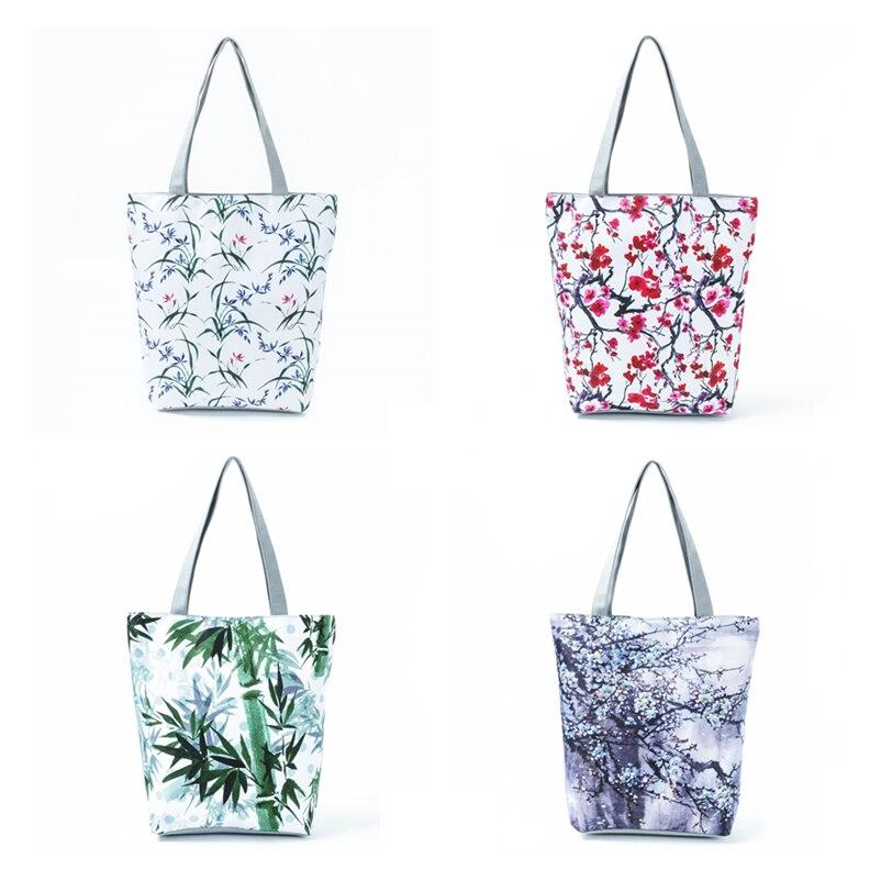 Miyahouse, дизайнерская сумка на плечо с чернилами, женская синяя Цветочная сумка с принтом, холщовая Летняя Пляжная Сумка для женщин