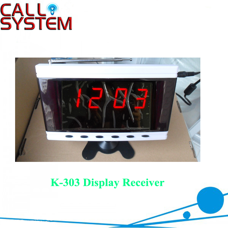 Wireless Call System Monitor K-303 with 3-digit number for calling services wireless pager system 433 92mhz wireless restaurant table buzzer with monitor and watch receiver 3 display 42 call button