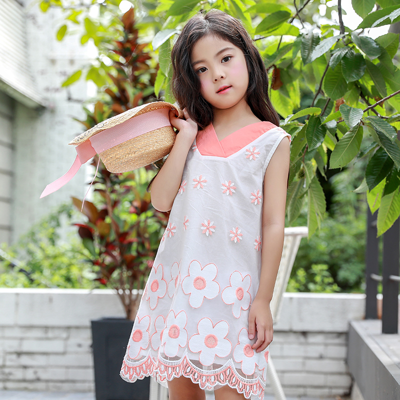 Floral Girls Dresses For Party And Wedding Summer Girls Dress A-line Dresses Girl Sleeveless Dress Children Princess Clothing 14 блендер philips hr 3556 00 on the go viva collection