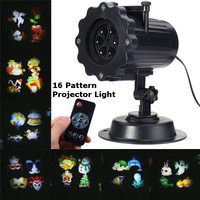 Smuxi 16 Patterns LED Laser Projector Light Landscape Projector Lamp Christmas Halloween Party Decoration Outdoor Waterproof