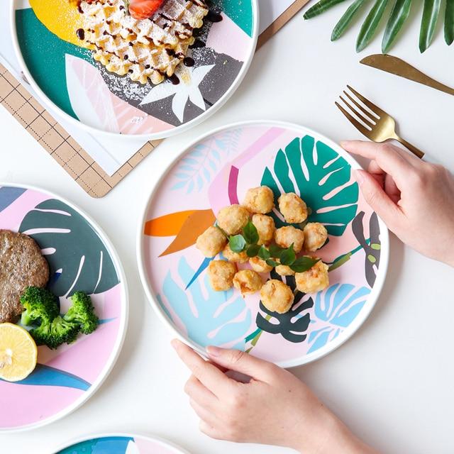 1 PCS 9 אינץ עצם סין קרמיקה צלחת מופשט אמנות ציור ארוחת ערב מנות ארוחת בוקר פסטה סטייק קינוח צלחות כלי מטבח