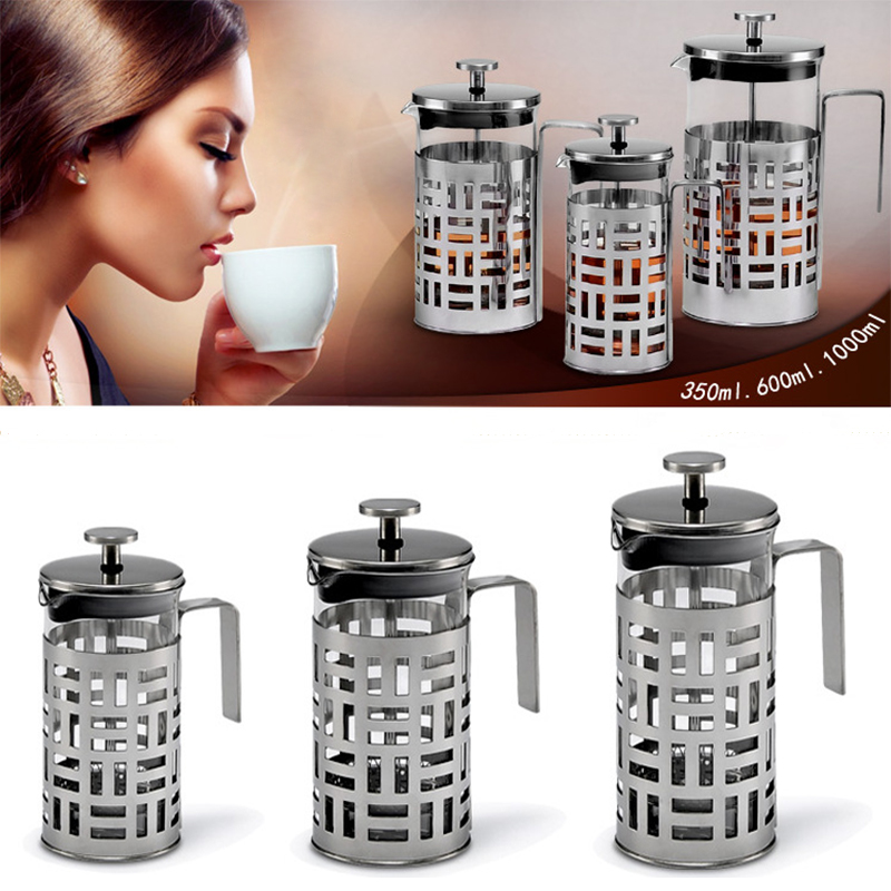 Coffee Maker French Press Pot Borosilicate Glass Stainless Steel 350/600/1000ml Coffee Tea Pot