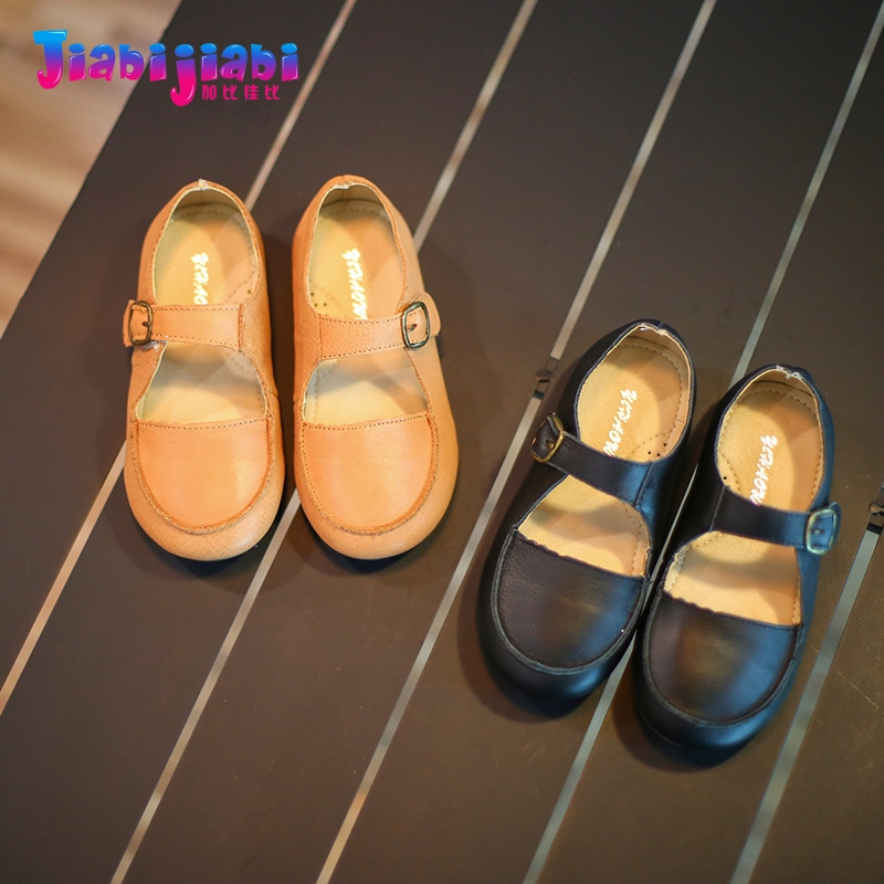 3-6T New Autumn Girls Princess Dress Shoes Flats Maiden Single Shoes Toddler Kids Frail Fashion Real Leather Shoes G23702