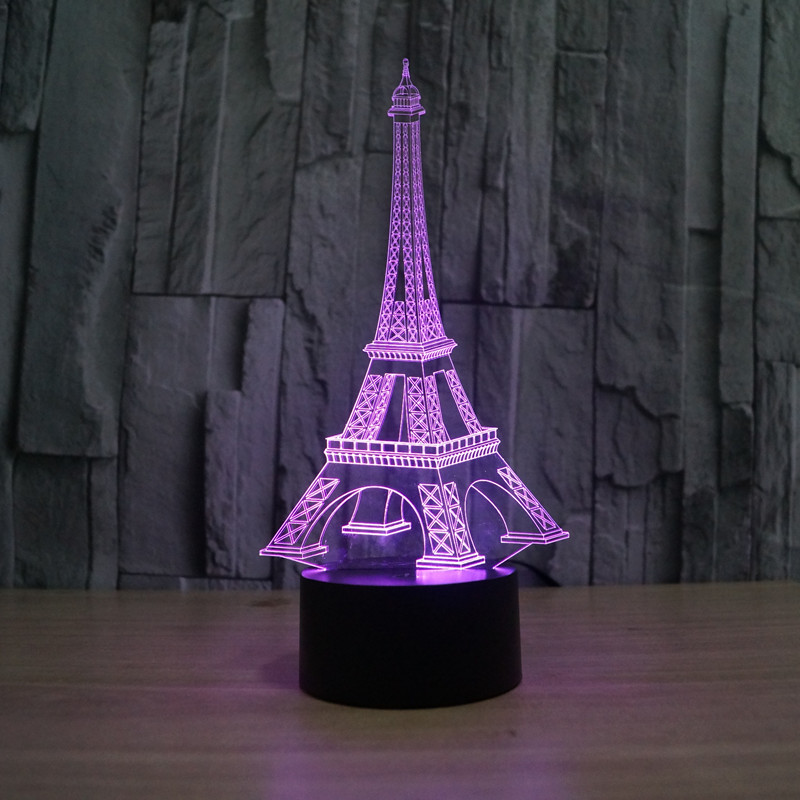 Wenhsin Colorful Eiffel Tower 3D Light Creative Visual Stereo Light LED Touch Switch Table Lamp Gradient Night Light