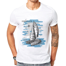 Men T Shirt 2019 New Summer Funny T-Shirts White Cotton Tops Mens Catamaran Printing Hipster Tees Camisetas Hombre Verano
