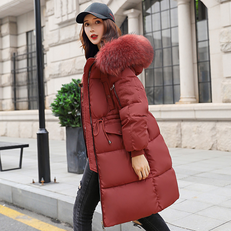 Female Jacket Parkas Women Winter Long thick down cotton padded jackets big fur hooded Solid Warm